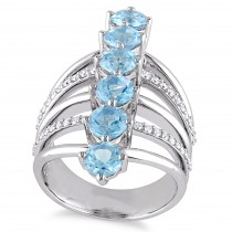 Round Blue Topaz & Diamond Fashion Ring Sterling Silver (4.14ct)