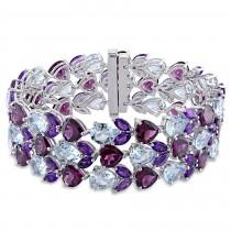 Pear Blue Topaz Marquise Amethyst Heart Bracelet Sterling Silver (91.25ct)