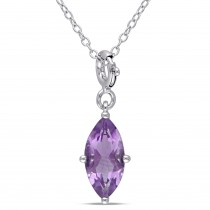 Marquise Amethyst Pendant Enhancer Sterling Silver (1.33ct)