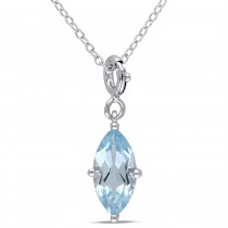 Marquise Blue Topaz Enhancer Pendant Sterling Silver (3.75ct)