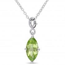 Marquise Peridot Enhancer Pendant Sterling Silver (1.70ct)