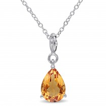 Pear Citrine Enhancer Pendant Sterling Silver (1.75ct)