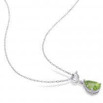 Pear Peridot Enhancer Pendant Sterling Silver (1.87ct)