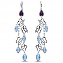 Marquise Blue topaz & Rhodolite Dangle Earrings Sterling Silver (15.88ct)