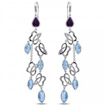 Marquise Blue topaz & Rhodolite Dangle Earrings Sterling Silver (15.88ct)|escape