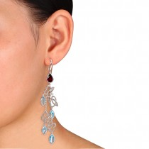 Marquise Blue topaz & Rhodolite Dangle Earrings Sterling Silver (15.88ct)
