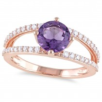 Round Amethyst & Diamond Fashion Ring 14K Rose Gold (1.60ct)