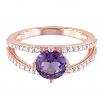 Round Amethyst & Diamond Fashion Ring 14K Rose Gold (1.60ct)