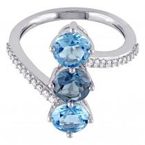 Round Topaz & Diamond Fashion Ring 14K White Gold (3.146ct)