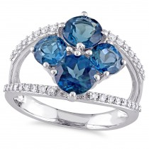 Round Topaz & Diamond Fashion Ring 14K White Gold (3.40ct)