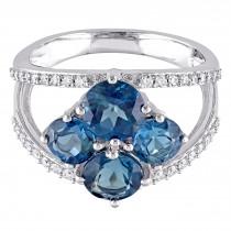 Round Topaz & Diamond Fashion Ring 14K White Gold (3.40ct)