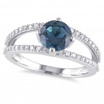 Round Blue Topaz & Diamond Fashion Ring 14K White Gold (1.90ct)