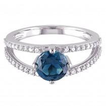Round Blue Topaz & Diamond Fashion Ring 14K White Gold (1.90ct)