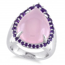 Pear Pink Chalcedony & Amethyst Fashion Ring Sterling Silver (12.62ct)