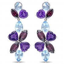 Pear Blue Topaz Rhodolite Amethyst Earrings Sterling Silver (35ct)