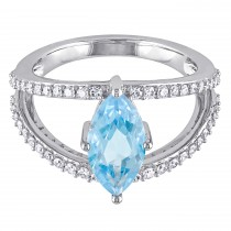 Marquise Blue Topaz & Diamond Fashion Ring 14K White Gold (2.30ct)