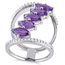 Marquise Amethyst & Diamond Fashion Ring Sterling Silver (2.80ct)