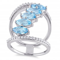 Marquise Blue Topaz & Diamond Fashion Ring Silver (3.45ct)