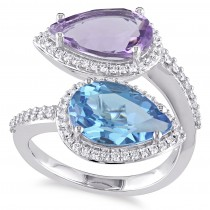 Pear Topaz Amethyst & Diamond Fashion Ring 14K White Gold (7.15ct)