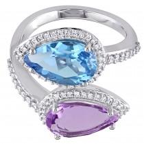 Pear Topaz Amethyst & Diamond Fashion Ring 14K White Gold (7.13ct)