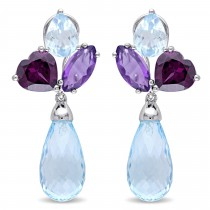 Pear Blue Topaz Rhodolite Amethyst Earrings Sterling Silver (27.5ct)