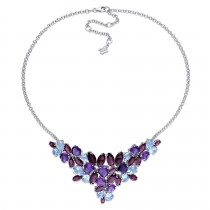 Pear Blue Topaz & Rhodolite Amethyst Necklace Sterling Silver (62.20ct)