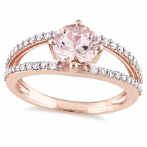 Round Morganite & Diamond Fashion Ring 14K Rose Gold (1.46ct)