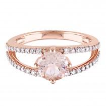 Round Morganite & Diamond Fashion Ring 14K Rose Gold (1.46ct)