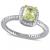 Cushion Yellow and Round White Diamond Halo Ring 14k Two-tone Gold (1.35ct)