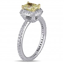 Cushion Yellow and Round White Diamond Halo Ring 14k Two-tone Gold (1.35ct)