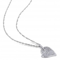 Diamond Heart Pendant 14k White Gold (0.50ct)