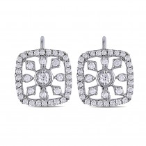 Cushion Shaped Diamond Leverback Earrings 14k White Gold (0.75ct)
