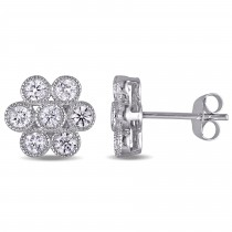 Diamond Cluster Stud Earrings 14k White Gold (1.00 ct)