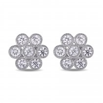 Diamond Cluster Stud Earrings 14k White Gold (1.00 ct)|escape