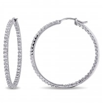 Diamond Hoop Earrings 14k White Gold (2.00ct)