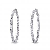 Diamond Hoop Earrings 14k White Gold (2.00ct)|escape