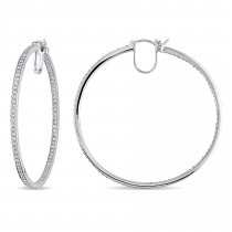 Diamond Hoop Earrings 14k White Gold (1.80ct)