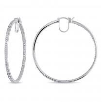 Diamond Hoop Earrings 14k White Gold (1.80ct)