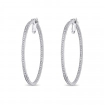 Diamond Hoop Earrings 14k White Gold (1.80ct)|escape