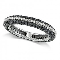 Round Black and White Diamond Eternity Ring 14k White Gold (1.55ct)
