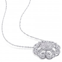 Diamond Vintage Pendant 14k White Gold (1.30ct) 18 Inch