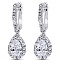 Pear & Round Diamond Leverback Earrings 14k White Gold (1.40 ct)