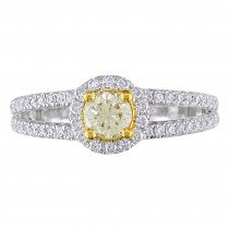 Yellow and White Diamond Halo Engagement Ring 14k Two-tone Gold (10ct)