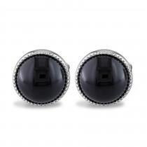 Round Black Onyx Cuff Link Silver (17.00ct)