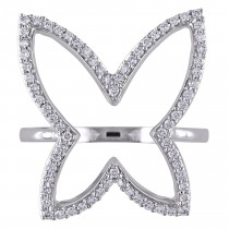 Diamond Butterfly Fashion Ring 14k White Gold (0.30ct)|escape