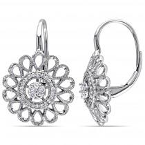 Flower Diamond Leverback Earrings 14k White Gold (0.25ct)