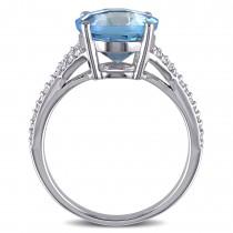 Blue Topaz and Diamond Fashion Ring 14k White Gold (4.75ct)