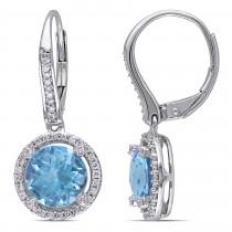 Blue Topaz & Round Diamond Halo Earrings 14k White Gold (4.80ct)