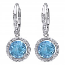 Blue Topaz & Round Diamond Halo Earrings 14k White Gold (4.80ct)