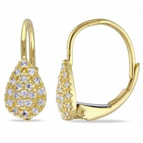 Round White Sapphire Leverback Earrings 14k Yellow Gold (0.30ct)